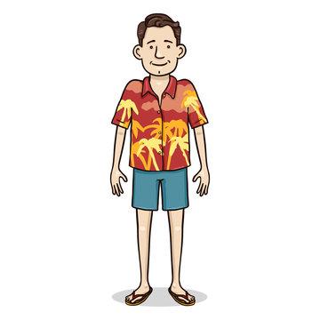 Vector Cartoon Color Character - Young Man in Hawaiian Shirt and Blue Shorts