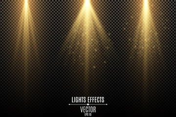 Wall Mural - Set of golden lights effects isolated on a dark transparent background. Golden rays with flying magical dust. Lamp beams. Neon glowing. Vector illustration.
