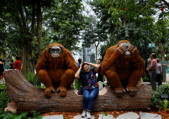A woman poses for a picture at the Canopy Park of Jewel Changi Airport in Singapore