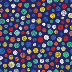 Vector blue colorful polka dots texture repeat pattern. Suitable for gift wrap, textile and wallpaper.