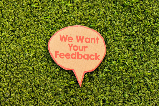 we want your feedback speech bubble above green grass