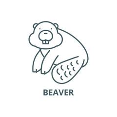 Beaver line icon, vector. Beaver outline sign, concept symbol, illustration
