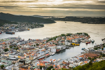 Aeral view of colorful city Bergen, Norway