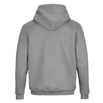 Back of grey sweatshirt with hood isolated on white background