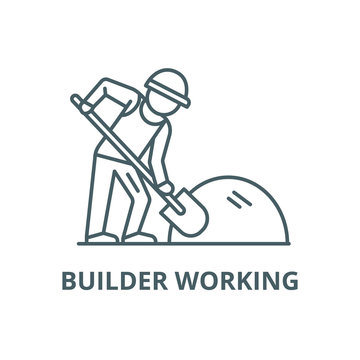 Builder working with shovel line icon, vector. Builder working with shovel outline sign, concept symbol, illustration