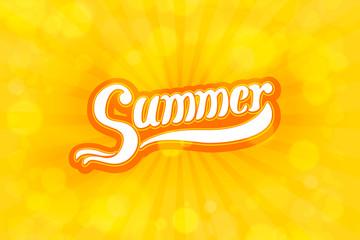 Summer lettering text on sunburst bubbles background