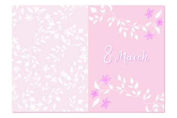 Gentle pink greeting card with hand written lettering and floral pattern. 8 march happy women's day quote. Soft postcard template. Vector illustration