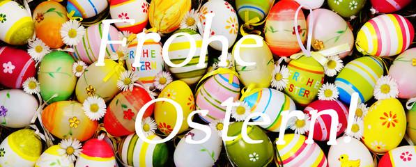 Ostern, Frohe Ostern, Schrift, Ostereier, Osterei, Frühling, Gänseblümchen, Frohe Ostern, bildfüllend