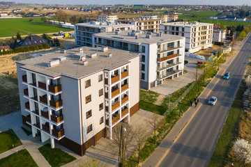 Multi-family building under construction, aerial view. Fototapete