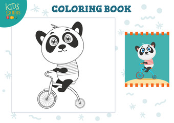 Copy and color picture vector illustration, exercise. Funny cartoon panda
