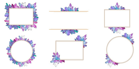 Hand painted watercolor set of crystals templates Wall mural