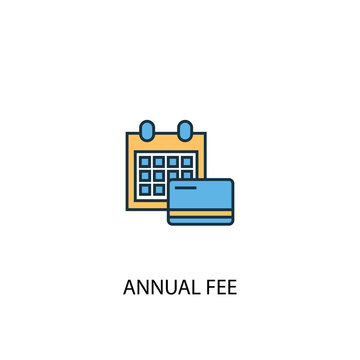 Annual Fee concept 2 colored line icon. Simple yellow and blue element illustration. Annual Fee concept outline symbol design