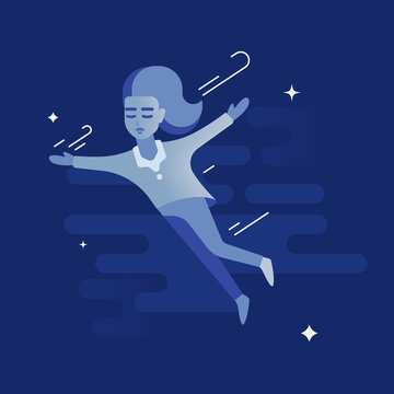 The girl is flying in dreams through the cloudy night sky. She is sleeping. She is wearing pajamas. The girl opened her arms. Freedom and dreaming concept.