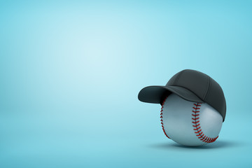 3d rendering of baseball wearing black baseball cap on the right of image with copy space on the rest of light blue background. Wall mural