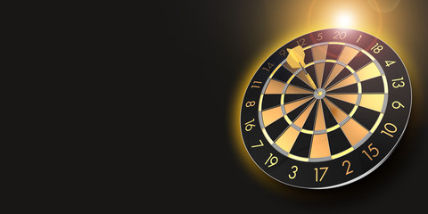 festive black and golden dart board with copy space