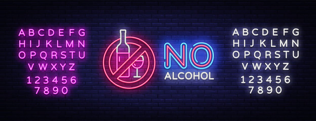 No Alcohol neon sign vector. Ban Alcohol Design template neon sign, light banner, neon signboard, nightly bright advertising, light inscription. Vector illustration. Editing text neon sign