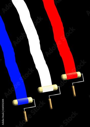Trois Rouleaux De Peinture étalent Le Bleu Blanc Rouge Du Drapeau