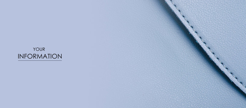 Blue leather material textile bag macro pattern on blur background