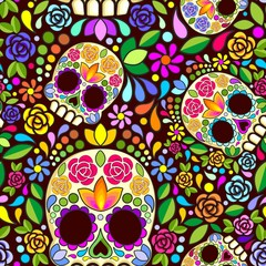Sugar Skull Floral Naif Art Mexican Calaveras Vector Seamless Pattern Design