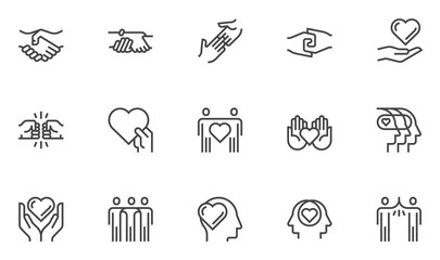 Friendship and Love Vector Line Icons Set. Relationship, Mutual Understanding, Mutual Assistance, Interaction. Editable Stroke. 48x48 Pixel Perfect. Wall mural