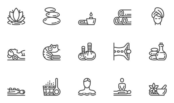 Spa Salon Vector Line Icons Set. Wellness Center, Stone Massage, Alternative Medicine, Treatment, Therapy. Editable Stroke. 48x48 Pixel Perfect.