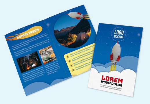 Brochure with Space and Rocket Illustrations