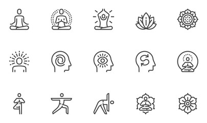 Meditation Practice and Yoga Vector Line Icons Set. Relaxation, Inner Peace, Self-knowledge, Inner Concentration, Spiritual Practice. Editable Stroke. 48x48 Pixel Perfect. Wall mural