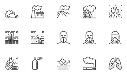 Air Pollution Vector Line Icons Set. Atmospheric Pollution. Natural, Transport, Industrial, Domestic Sources of Air Pollution. Volcanism, Forest Fires. Editable Stroke. 48x48 Pixel Perfect Wall mural
