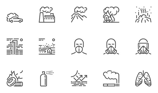Air Pollution Vector Line Icons Set. Atmospheric Pollution. Natural, Transport, Industrial, Domestic Sources of Air Pollution. Volcanism, Forest Fires. Editable Stroke. 48x48 Pixel Perfect