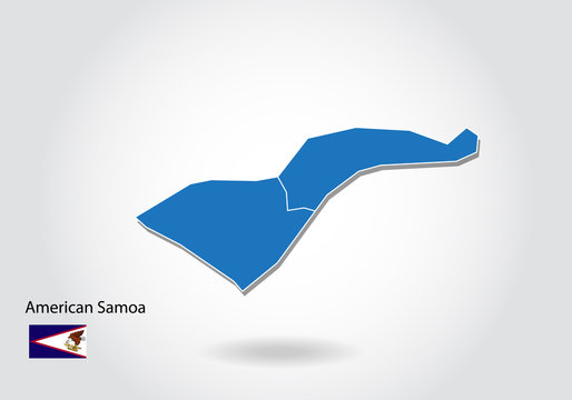 American Samoa map design with 3D style. Blue American Samoa map and National flag. Simple vector map with contour, shape, outline, on white.