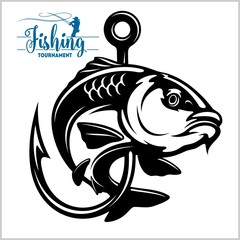 Carp fish. Fishing club sign or emblem. Fisherman sport adventure badge with vector logo.