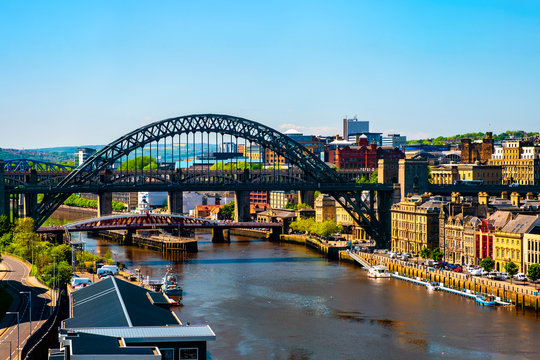 Aerial view of the High Level Bridge in Newcastle upon Tyne, UK