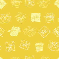 Vector yellow wrapped packages texture repeat pattern. Suitable for gift wrap, textile and wallpaper.