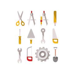 Keuken foto achterwand Abstractie Art construction tools set items