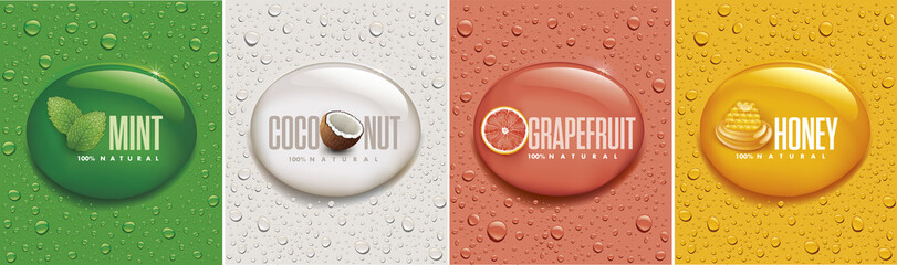many fresh drops on different color backgrounds with mint, coconut, grapefruit, honey Wall mural