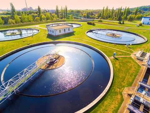 Aerial view to sewage treatment plant. Grey water recycling. Waste management in European Union.