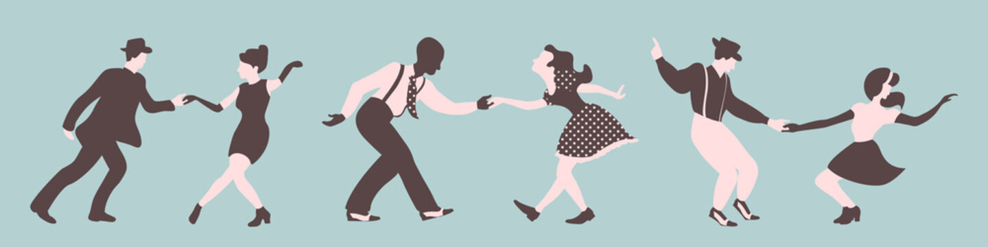 Three swing dance couples silhouettes on a green background