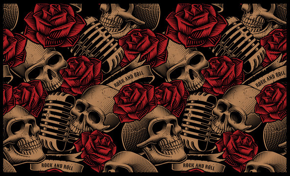 Seamless pattern with skulls, microphones and roses
