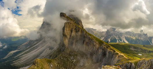 Panorama view Dolomites mountains from Seceda over Odle Puez Italy