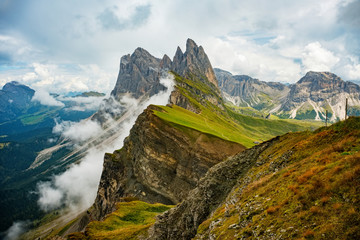 Amazing view Dolomites mountains from Seceda over Odle Puez Italy.