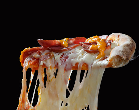 Pizza slice melted cheese