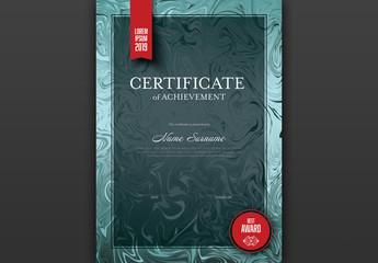Marbled Metallic Teal Certificate