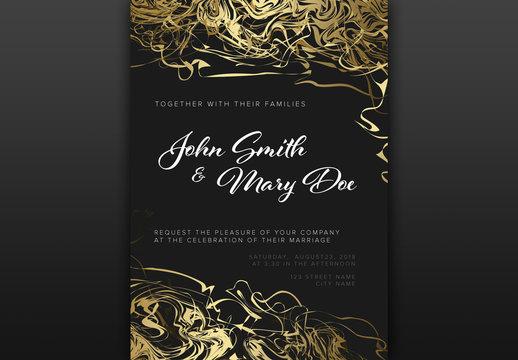Wedding Invitation with Gold Ribbon Illustrations