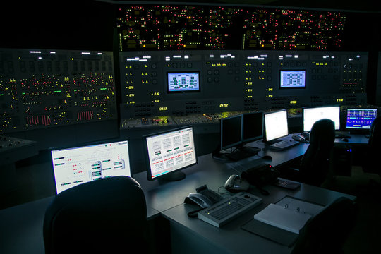lock control panel of nuclear power plant operates on a backup power supply during an accident simulation