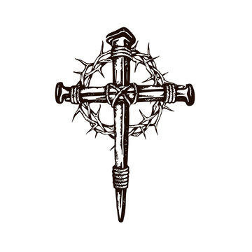 black image of jesus nail cross with thorn crown isolated on white background