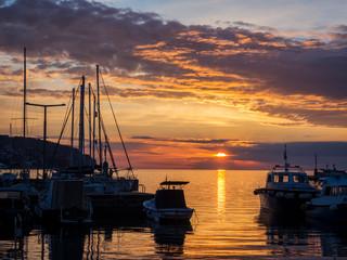 Sunset at the port of Koper Slovenia