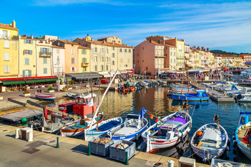 Boats and luxury yachts in por of Saint Tropez, France