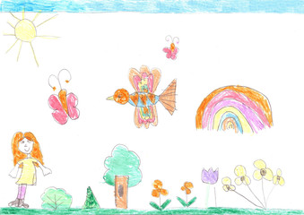 Child's drawing of a happy girl on a walk outdoors