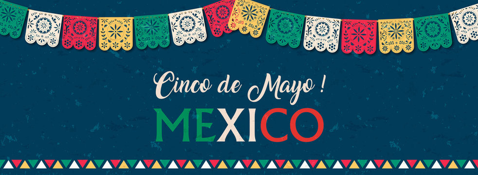 Cinco de Mayo paper flag banner for mexico holiday