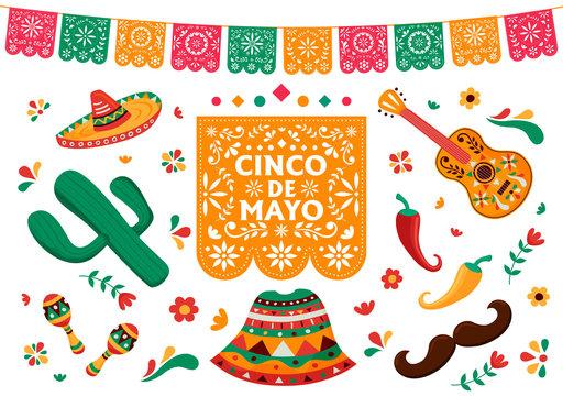 Cinco de Mayo set of mexican culture decoration